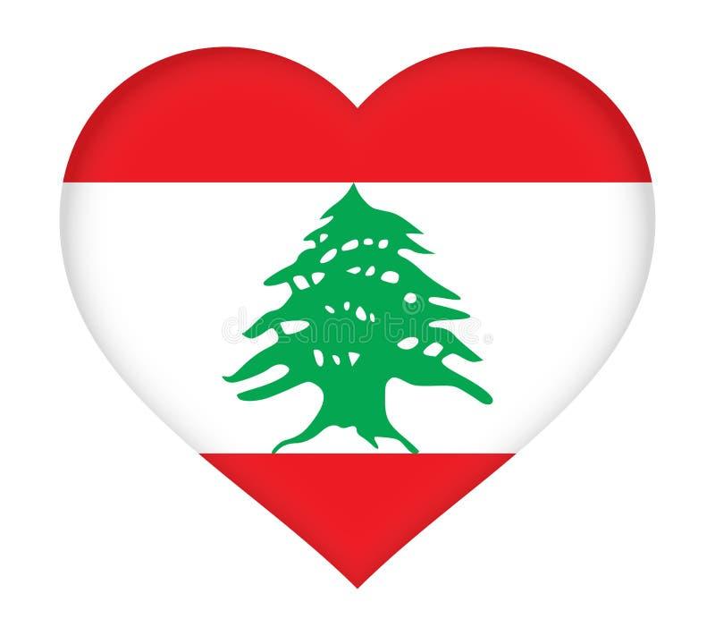 Bandeira do coração de Líbano ilustração stock