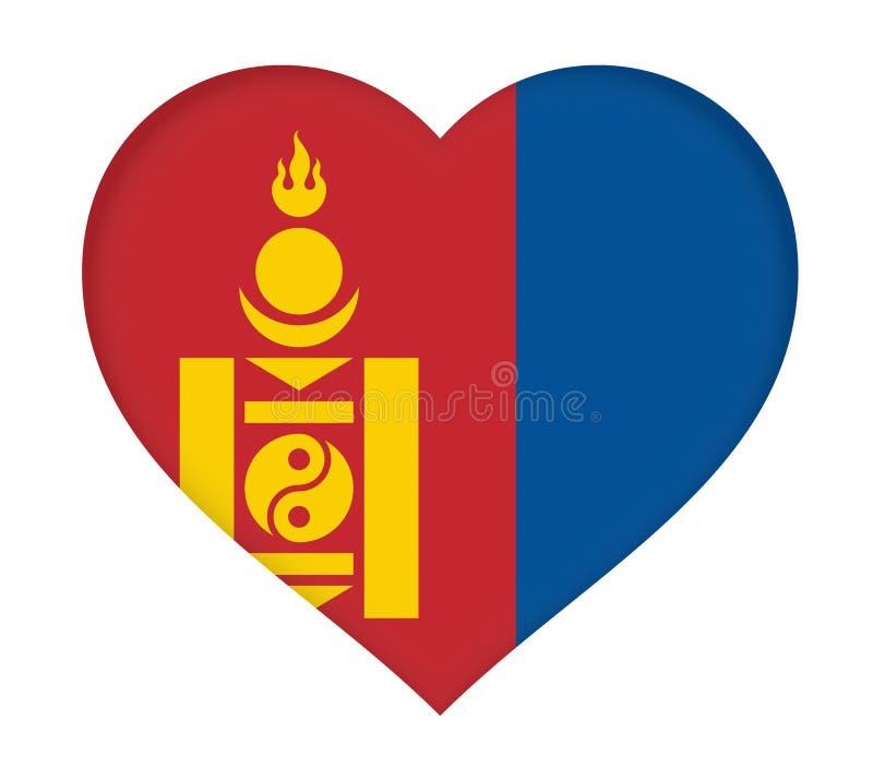 Bandeira do coração de Mongólia ilustração royalty free