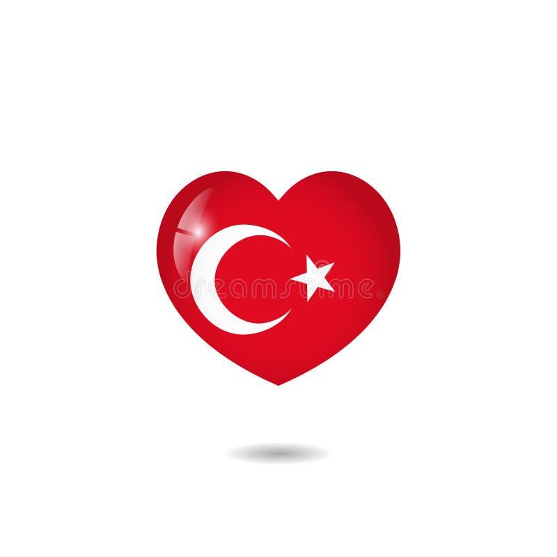 Bandeira do coração de Turquia imagem de stock royalty free