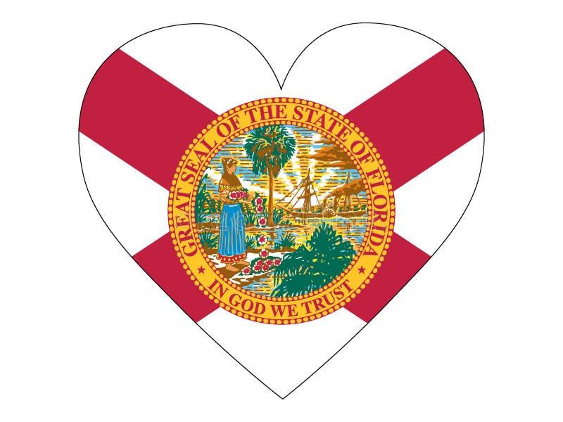Bandeira do coração do estado da Flórida dos EUA ilustração do vetor