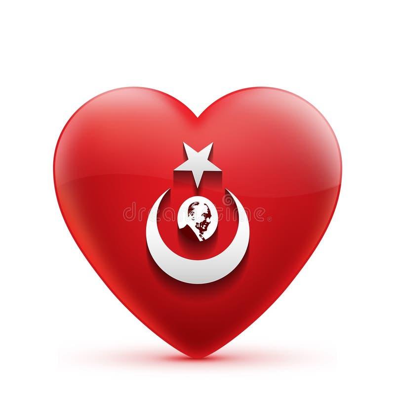 Bandeira do coração vermelho e silhueta turcas icónicas de Ataturk ilustração royalty free