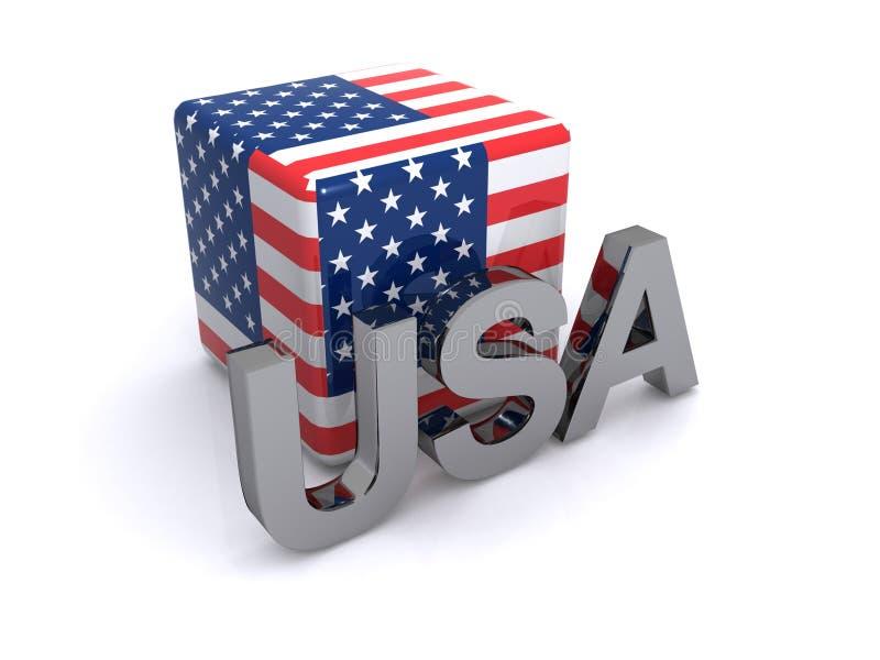 Bandeira do cubo dos EUA ilustração do vetor