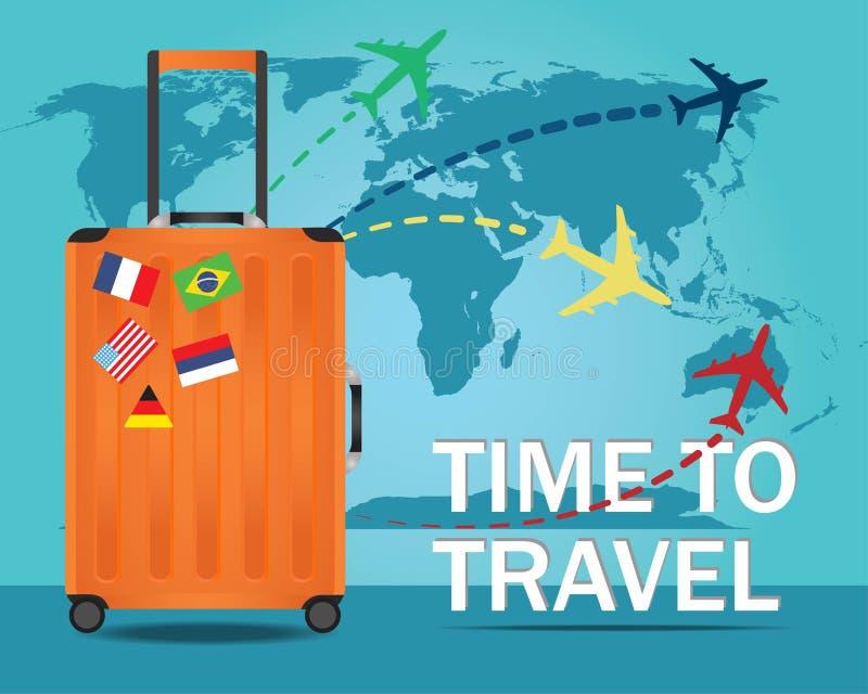 Bandeira do curso com a mala de viagem para viajar ilustração royalty free