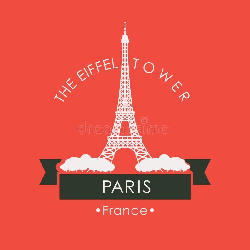 Bandeira do curso com a torre Eiffel em Paris, França ilustração stock
