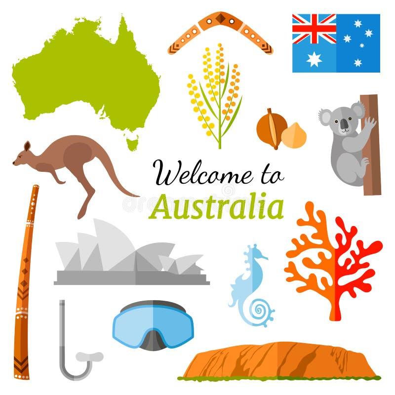 Bandeira do curso do vetor Boa vinda a Austrália ilustração stock