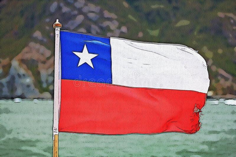 Bandeira do desenho do Chile ilustração do vetor