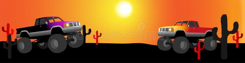 Bandeira do deserto do caminhão de monstro ilustração royalty free