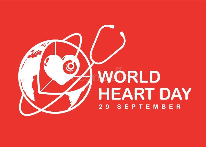 A bandeira do dia do coração do mundo com coração branco no sinal do mundo 3D e o estetoscópio no vetor vermelho do fundo projeta ilustração royalty free