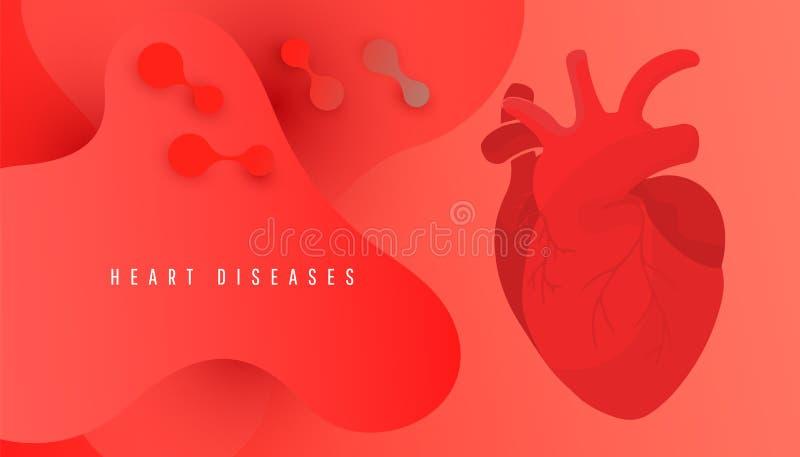 Bandeira do dia do coração do mundo com coração humano no projeto vermelho do fundo ilustração royalty free