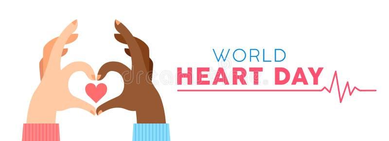 Bandeira do dia do coração do mundo para o apoio do amor e da saúde ilustração do vetor