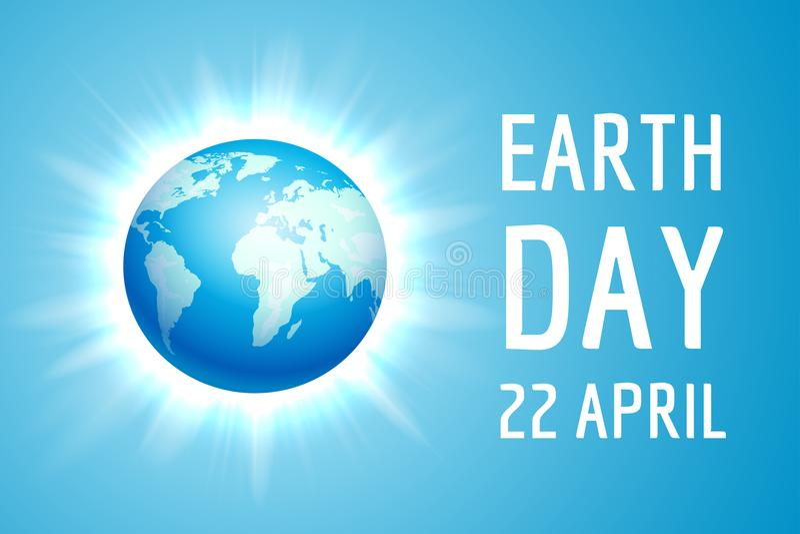 Bandeira do Dia da Terra com globo azul ilustração royalty free