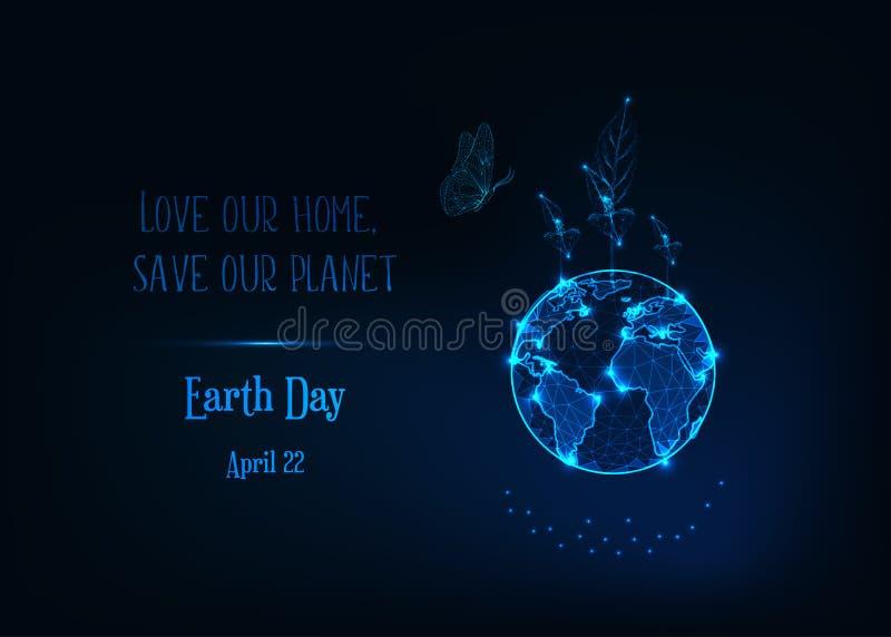 Bandeira do Dia da Terra com o globo poli da terra do glowlow, os brotos da planta, a borboleta e o texto na obscuridade - azul ilustração stock