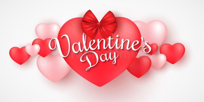 Bandeira do dia de Valentim para a Web Corações 3D românticos em um fundo branco Coração grande com fita e curva Caligrafia bonit ilustração royalty free