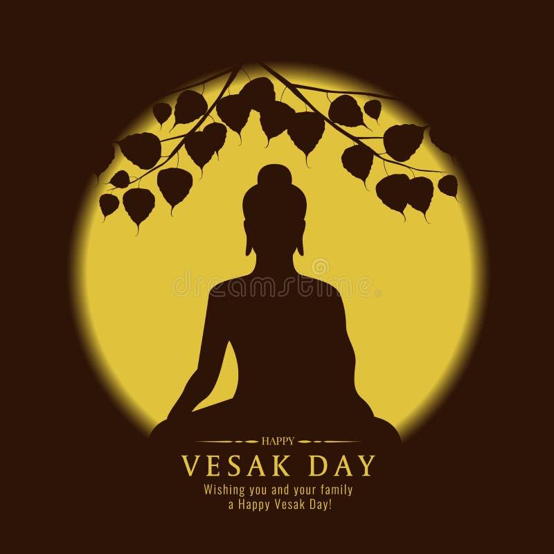 A bandeira do dia de Vesak com sinal da Buda da silhueta sob a árvore de Bodhi e o vetor amarelo da Lua cheia projetam ilustração stock