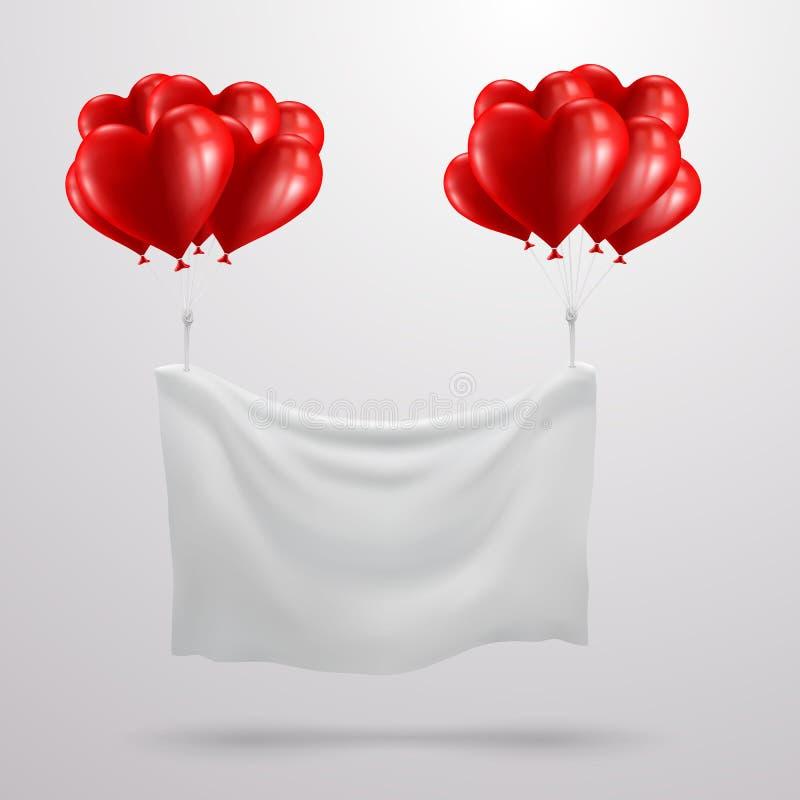 Bandeira do dia do ` s do Valentim com o balão vermelho do coração ilustração do vetor