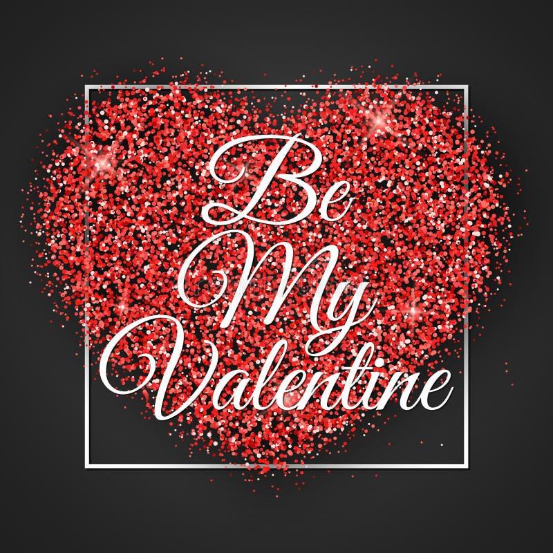 Bandeira do dia do ` s do Valentim Coração de brilhos vermelhos com caligrafia no quadro Tampa festiva da Web A inscrição seja me ilustração stock