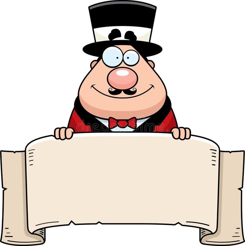 Bandeira do diretor do circo do circo dos desenhos animados ilustração do vetor
