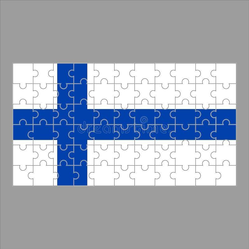 Bandeira do enigma de Finlandia no fundo cinzento ilustração stock