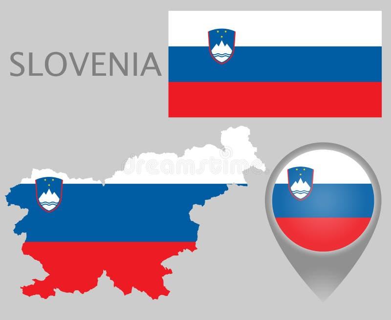 Bandeira do Eslovênia, mapa e ponteiro do mapa ilustração royalty free