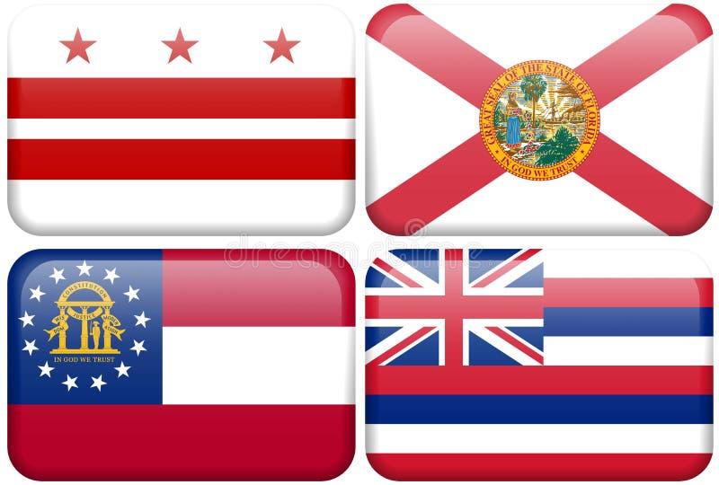 Bandeira do estado: C.C., Florida, Geórgia, Havaí ilustração royalty free