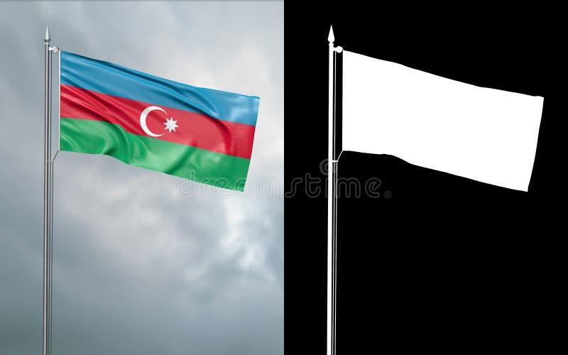 Bandeira do estado da república de Azerbaijão com canal alfa ilustração do vetor