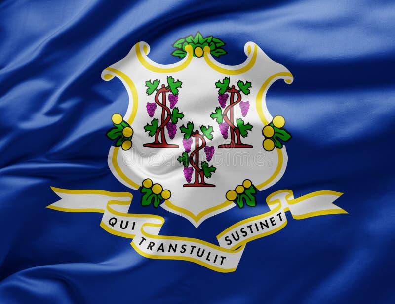 Bandeira do estado de acendimento do Connecticut - Estados Unidos da América imagem de stock