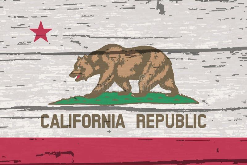 Bandeira do estado de Califórnia na madeira velha ilustração royalty free