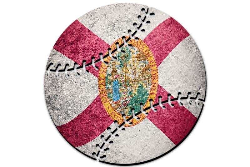 Bandeira do estado de Florida do basebol Basebol do fundo da bandeira de Florida ilustração royalty free