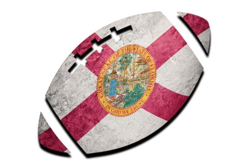 Bandeira do estado de Florida da bola de rugby Bal do rugby do fundo da bandeira de Florida ilustração royalty free