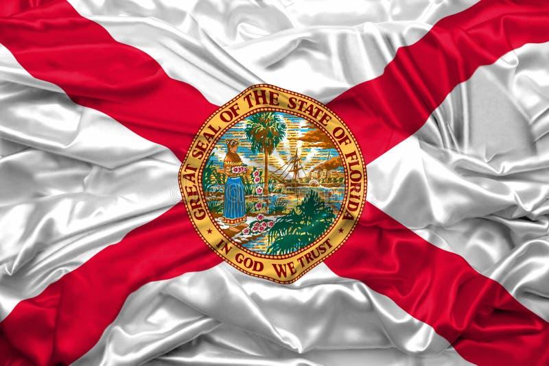Bandeira do estado de Florida de Estados Unidos da América na textura de seda macia e lisa ilustração royalty free