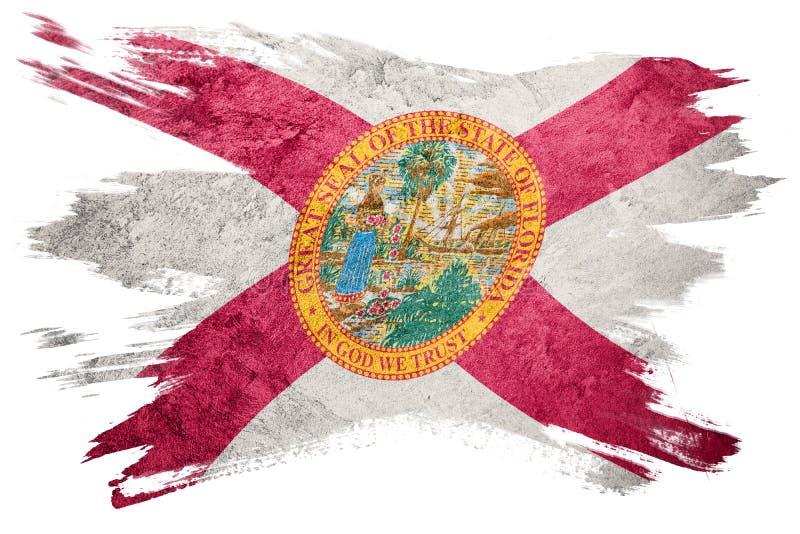 Bandeira do estado de Florida do Grunge Curso da escova da bandeira de Florida ilustração royalty free