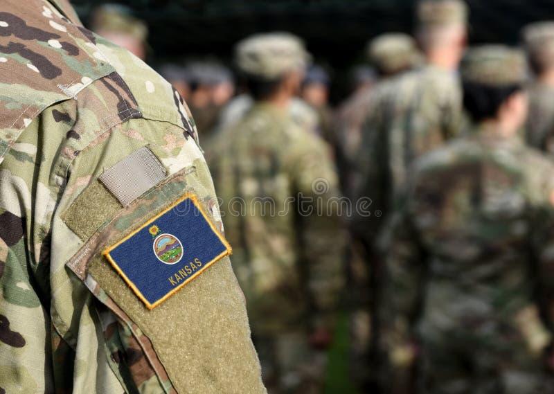 Bandeira do Estado de Illinois sobre uniforme militar Estados Unidos EUA, exército, soldados Colagem foto de stock royalty free
