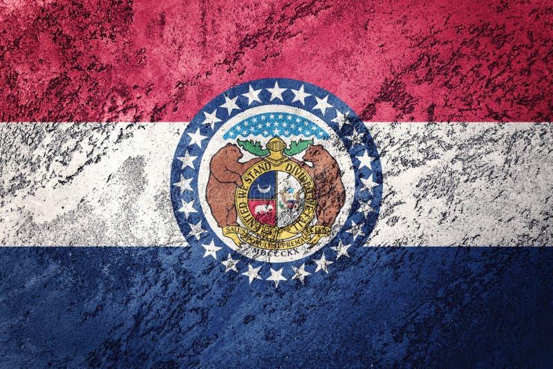 Bandeira do estado de Missouri do Grunge Texto do grunge do fundo da bandeira de Missouri imagem de stock