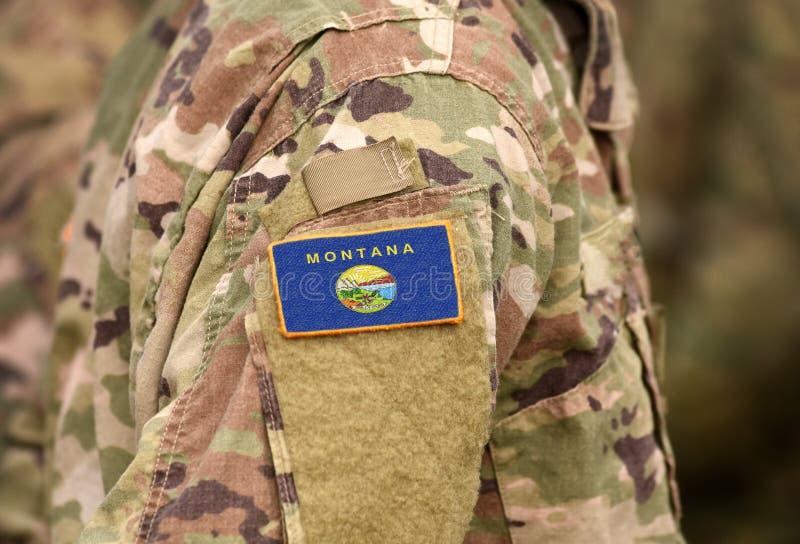 Bandeira do Estado de Montana em uniforme militar Estados Unidos EUA, exército, soldados Colagem imagens de stock