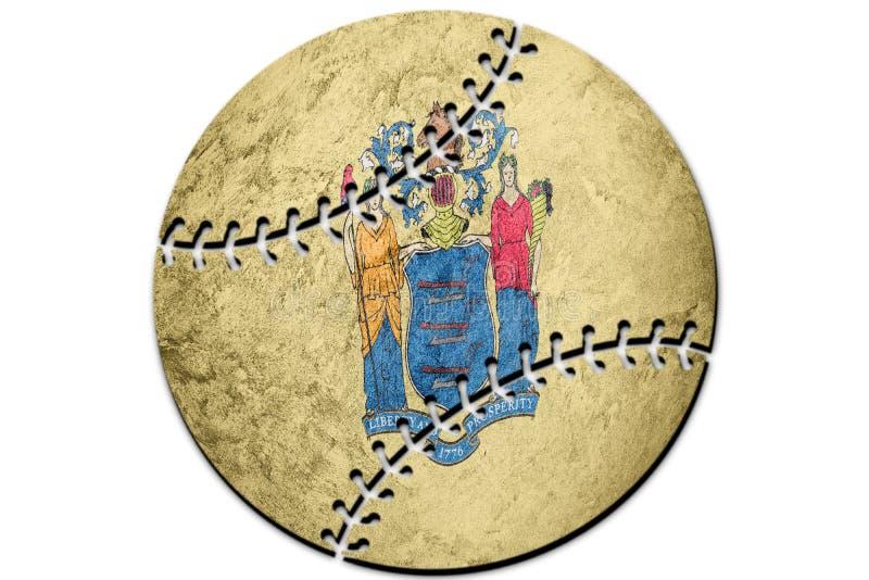 Bandeira do estado de New-jersey do basebol Fundo da bandeira de New-jersey Baseb ilustração do vetor