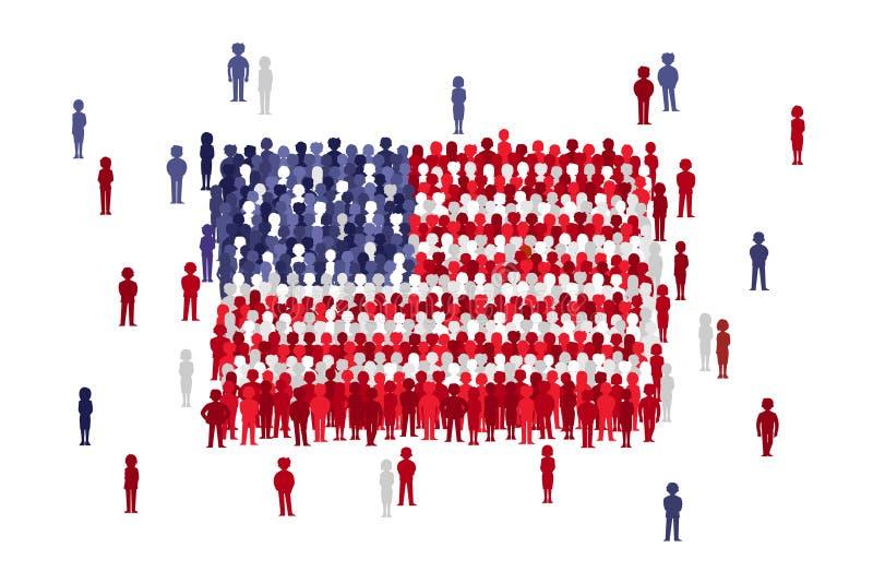 Bandeira do estado dos EUA do vetor formada pela multidão de povos dos desenhos animados fotos de stock