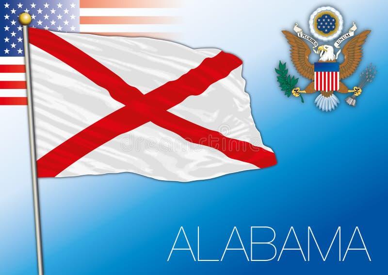 Bandeira do estado federal de Alabama, Estados Unidos ilustração royalty free