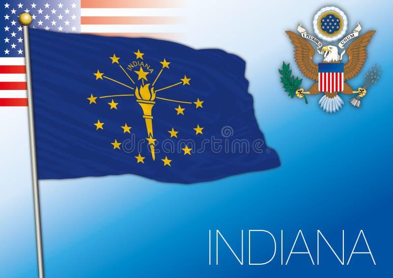 Bandeira do estado federal de Indiana, Estados Unidos ilustração do vetor