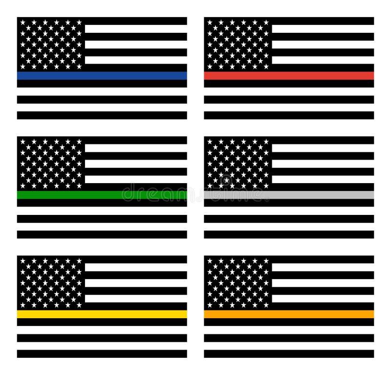 Bandeira do Estados Unidos do vetor com linha fina ilustração royalty free