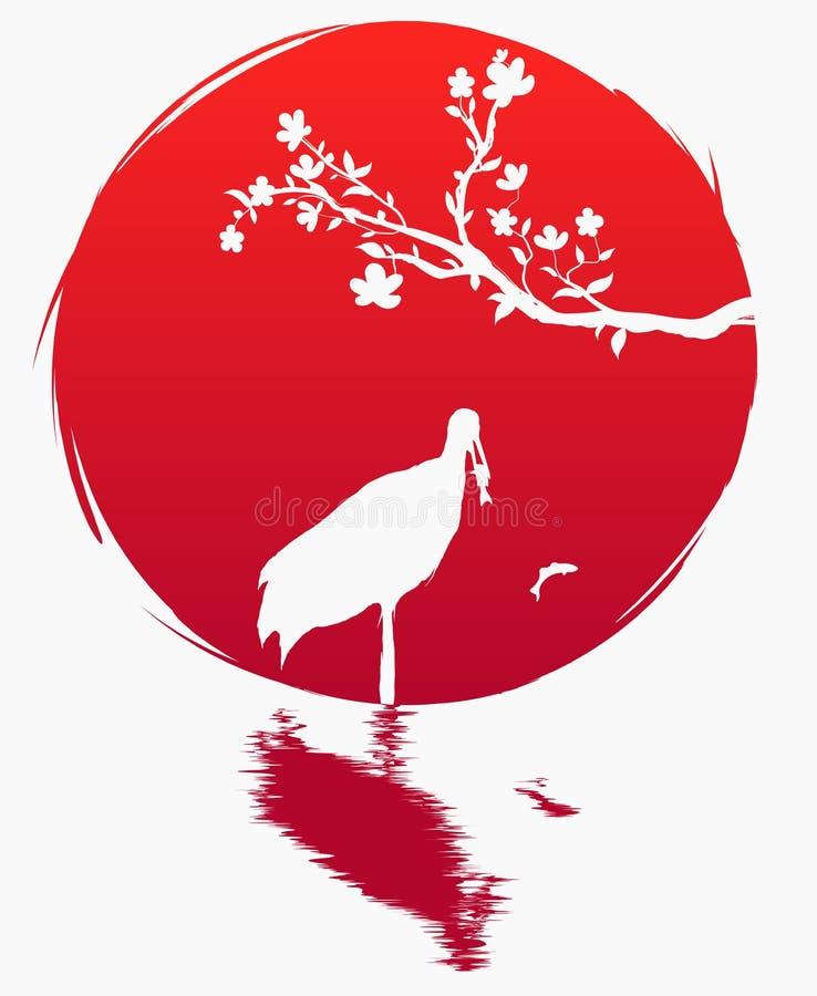 Bandeira do estilo do Grunge de Japão Um ramo com flores de sakura e um guindaste japonês com os peixes no fundo do sol vermelho  ilustração stock