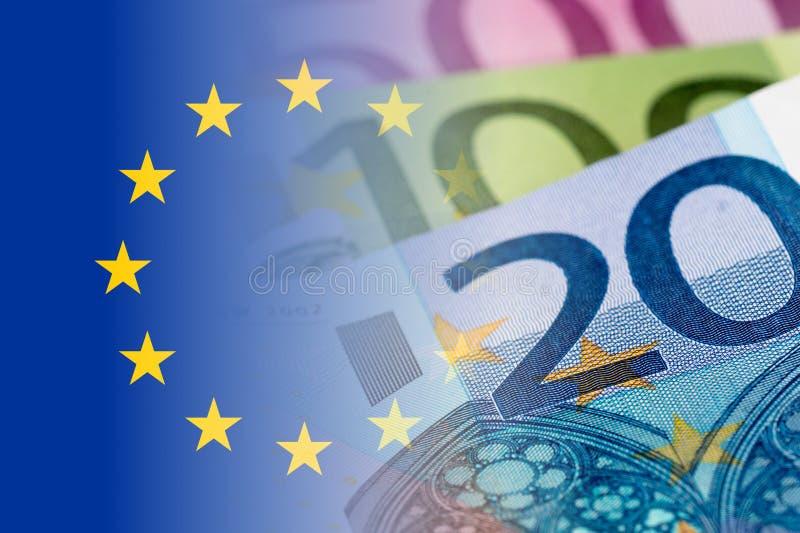 Bandeira do Eu com euro- cédulas ilustração royalty free