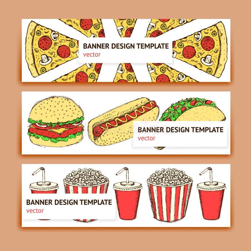 Bandeira do fast food do esboço ilustração stock