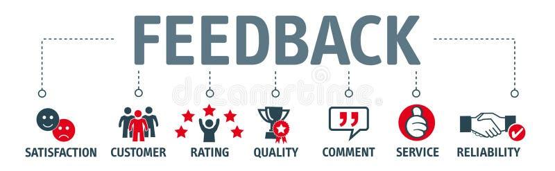 Bandeira do feedback com ícones ilustração royalty free