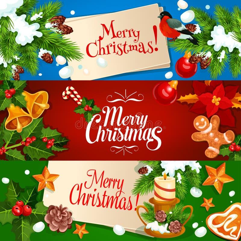 Bandeira do Feliz Natal e grupo de cartão ilustração stock