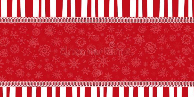 Bandeira do feriado de inverno com as listras vermelhas e brancas, ilustração stock