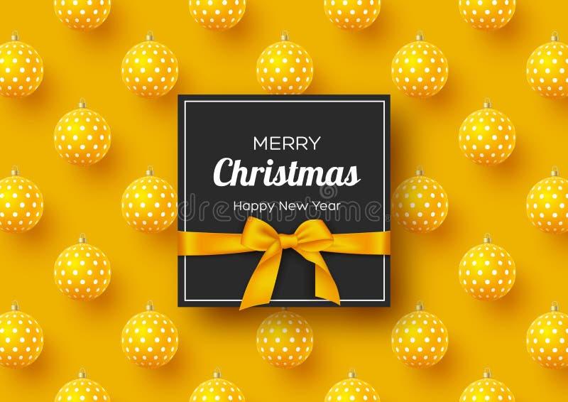 Bandeira do feriado do Natal Bolas 3d realísticas com teste padrão e etiqueta geométricos com curva de seda Fundo amarelo do ano  ilustração royalty free