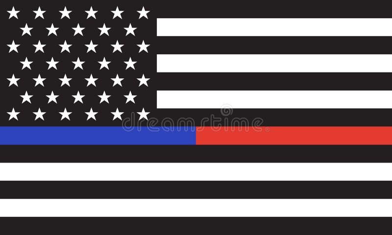 Bandeira do fogo de Police& do americano do vetor ilustração stock