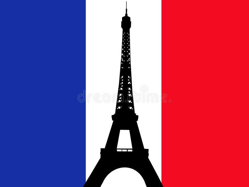 Bandeira do francês da torre Eiffel ilustração stock