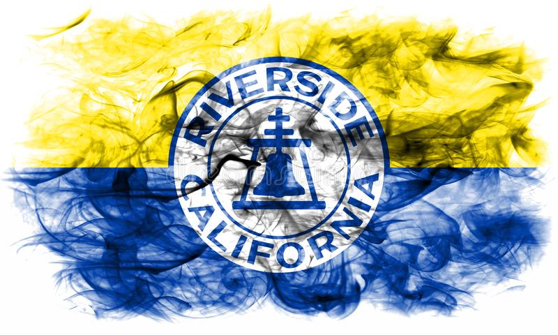 Bandeira do fumo da cidade do beira-rio, estado de Califórnia, Estados Unidos do Am foto de stock