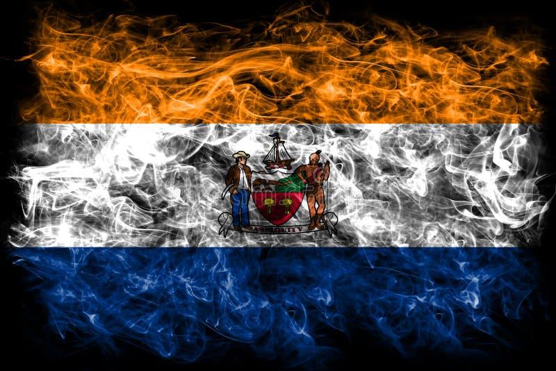 Bandeira do fumo da cidade de Albany, Estados de Nova Iorque, Estados Unidos da América fotografia de stock royalty free